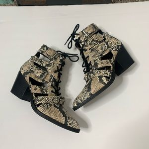 Sam Edelman Elana Studded Snake Print Boot Bootie